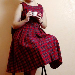 Dolly and Dottie Retro Red Tartan Plaid Dress